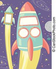 Outer Space Bulletin Frames Rocket Illustration