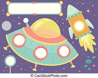 Outer Space Bulletin Frames Space Ship