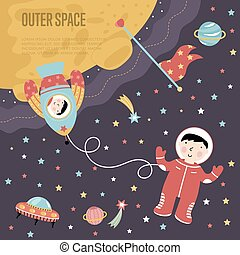 Outer Space Cartoon Vector Web Banner