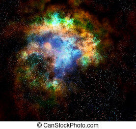 outer space cloud nebula and stars - deep outer space gas ...