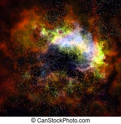 outer space cloud nebula and stars - deep outer space gas...