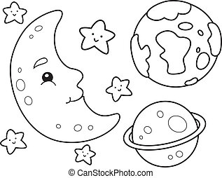 Outer Space Coloring Page - Coloring Book Illustration...