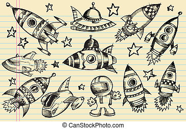 Outer Space Doodle Sketch elements - Outer Space Doodle...