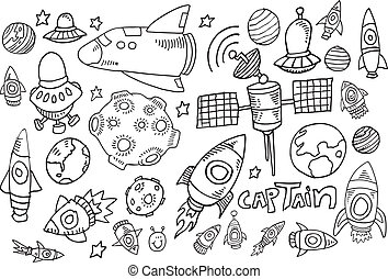 Outer Space Doodle Sketch Set - Outer Space Doodle Sketch...