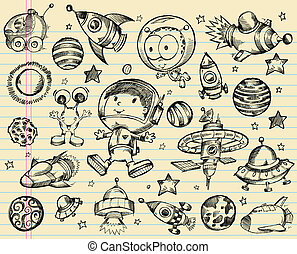 Outer Space Doodle Sketch set - Outer Space Doodle Sketch ...
