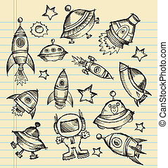 Outer Space Doodle Sketch Vector Se - Notebook Outer Space ...