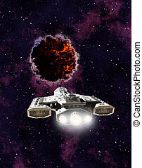 Science fiction illustration of a spaceship encountering an alien entity in outer space, 3d digitally rendered illustration