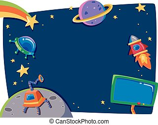 Outer Space Frame - Frame Illustration Featuring Planets in...