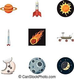 Outer space icons set, cartoon style