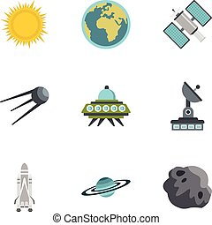 Outer space icons set, flat style