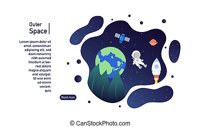Outer space landing page banner template