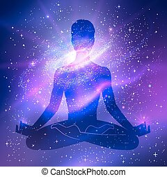 Outer space. Meditation. Male silhouette. Vector...