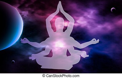 Outer space. Meditation. Man silhouette. Vector illustration.