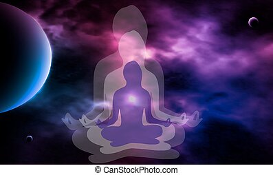 Outer space. Meditation. Woman silhouette. Vector...