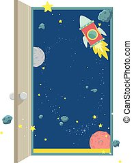 Illustration of an Open Door Showing the Outer Space with Planets, Asteroids, Stars and Space Rockets