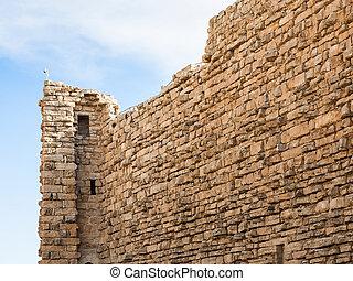 outer wall of medieval Kerak castle in Jordan