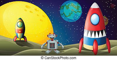 outerspace, zwischen, raumschiffe, zwei, roboter