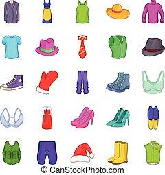 Outerwear icons set, cartoon style - Outerwear icons set....