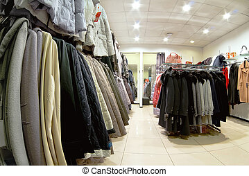 outerwear - interior of clothing store