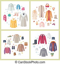 Outerwear Mens and Womens Set of Clothes Accessory