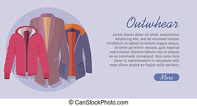 Outerwear Web Banner. Winter Collection for Man - Outerwear...