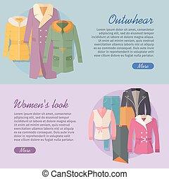 Outerwear Women s Look Web Banner. Apparel Vector -...