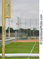 outfield, diamante, asqueroso, atrás, beisball, poste