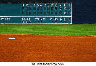 outfield, primeiro plano, campo, basebol, scoreboard, em...