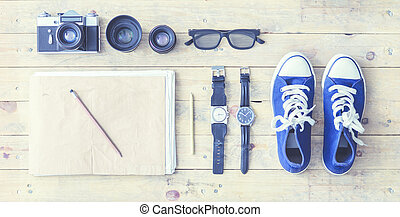 Outfit of a stylish traveler. Set of different objects and equipment.
