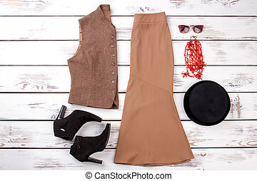 stilizzato, outfit., set, moda, femmina
