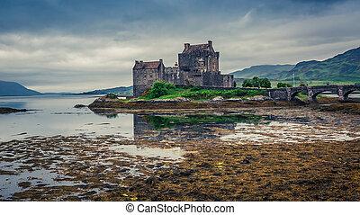 Outflow from loch an Eilean Donan Castle in Scotland