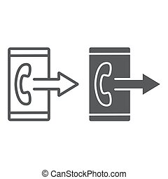 Outgoing call line and glyph icon, smartphone and ring,...