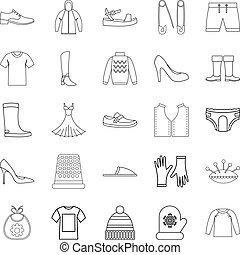 Outgoing clothes icons set, outline style - Outgoing clothes...