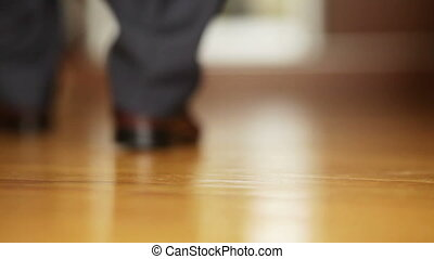 Outgoing man - Man in expensive shoes out from room