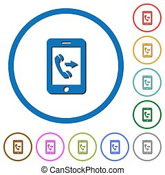 Outgoing mobile call icons with shadows and outlines -...