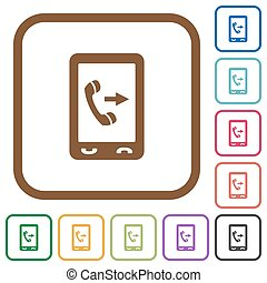 Outgoing mobile call simple icons in color rounded square...