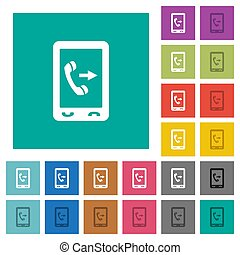Outgoing mobile call square flat multi colored icons -...