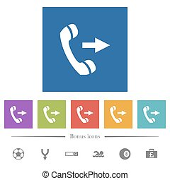 Outgoing phone call flat white icons in square backgrounds....