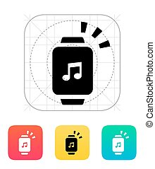 Outgoing sound from smart watch icon. Vector illustration.