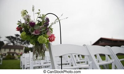 Outgoing wedding ceremony. Decor, chairs for the wedding...
