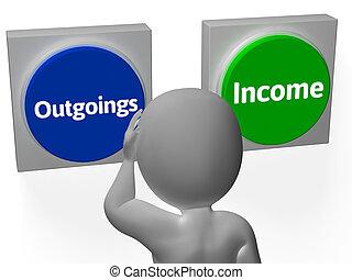 outgoings, mostrar, orçando, botões, renda, contabilidade, ou