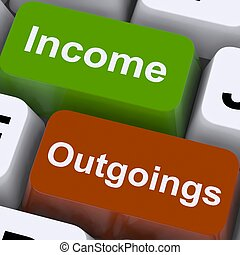 outgoings, mostrar, teclas, orçando, renda, contabilidade
