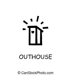 Outhouse flat vector icon