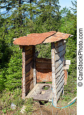 Outhouse - Wooden outhouse at mountains in Northern Turkey
