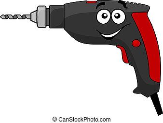 outil électrique, dessin animé, foret