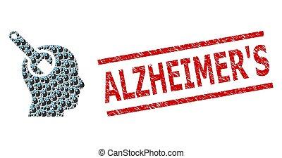 outillage, alzheimer, cachet, fractal, collage, cerveau, grunge, icônes