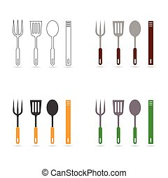 outillage, cuisine, illustration, cuisine
