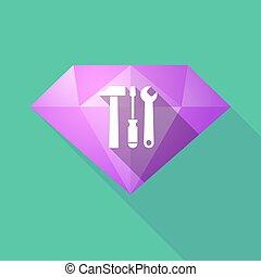outillage, diamant, ensemble, ombre, long
