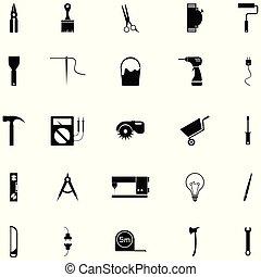 outillage, ensemble, bricolage, icône