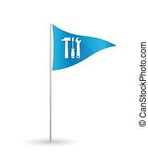 outillage, ensemble, drapeau golf